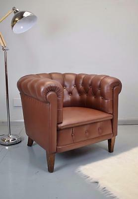 Mid Century Danish Brown Leather Chesterfield Club Arm Chair