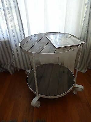 Shabby Chic Country White Night Stand Side Table Recycle Wood Top