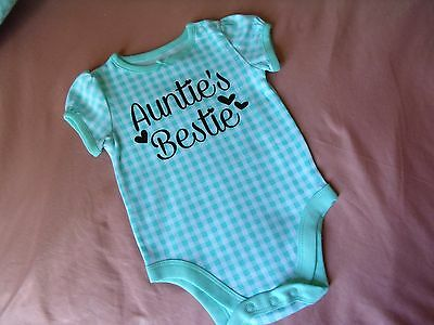 CUTE AUNTIE'S BESTIE Infant one piece.  baby girl shower gift 3-6m