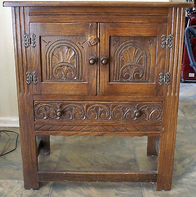 Small Carved Antique Oak Cupboard