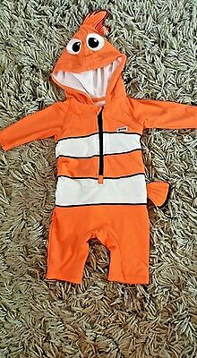 Disney Store Finding Nemo Sunsuit Size 9 -12 Months Hooded Swimsuit Holidays
