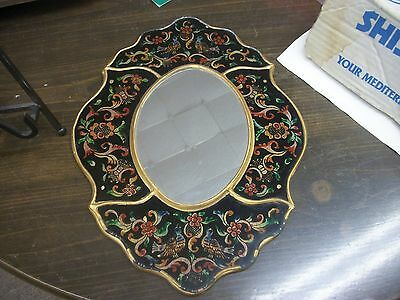 antique mirror with enamaled flowers & birds with gold trim frame