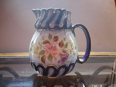 Vintage W&R Stroke On Trent Carlton Ware Flower Pitcher Blue Gold