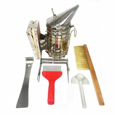 Beekeeping Tools Kit 6 pcs Hive Smoker Scraper Brush Feeder Frame Grip New