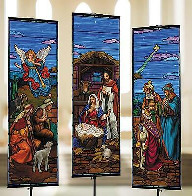 Christmas Nativity Banners Set of 3 each 9 Foot H Church Quality Satin Polyester