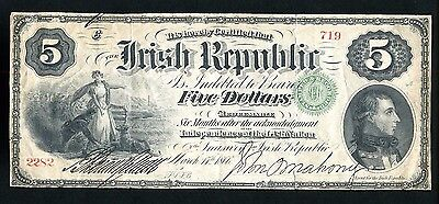 Ireland Irish Republic 1866 Five Dollar $5 Large Note