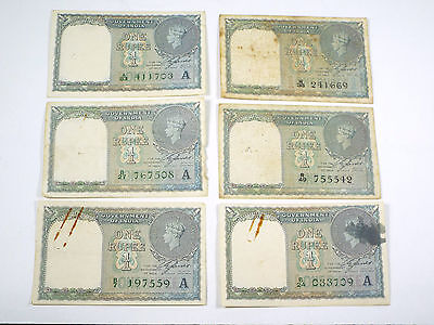 Lot of 6  - 1940 India 1 Rupee