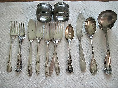 13 Pieces Antique Silver & Silver Plate Wm Rogers & Sons Reed & Barton Flatware