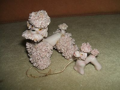 Vtg Pink Spaghetti Poodle Dog Figurineand Pup Old Japan Sticker