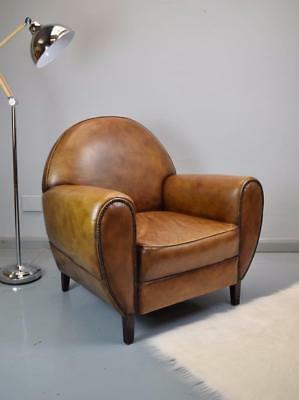 Art Deco Style Light Brown Leather Lounge / Club /  Armchair