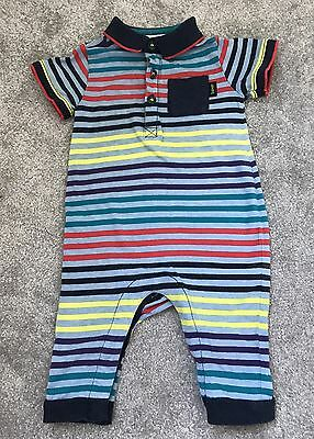 Ted Baker Baby Boys Polo Romper Bodysuit Colourful Stripes - Size 6-9 Months