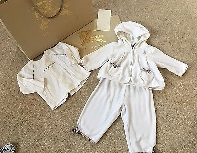 GENUINE BURBERRY GIRLS BABY WHITE OUTFIT & TOP - SIZE 3-6m - PROOF OF PURCHASE