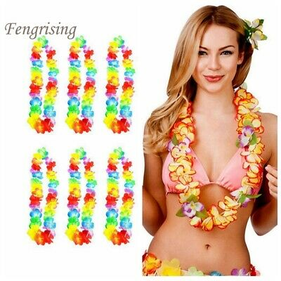 10x Hawaiian Flower Leis Tropical Garlands Necklace Luau Party Decor Hen Night