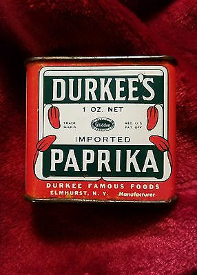 Vintage Durkee's Paprika Spice Tin * Excellent Condition *