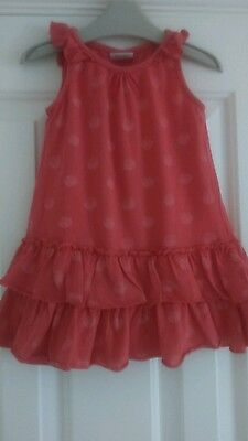 NEXT baby girls dress age 12-18 months in coral spotty pattern