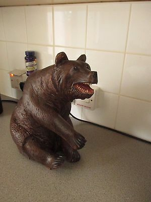Antique Black Forest Sitting Bear Music Box Swiss Wood Carving
