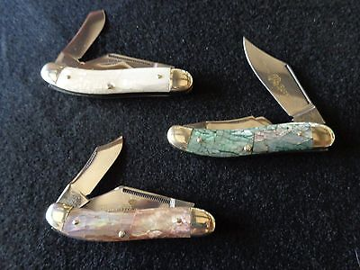 Fight'n Rooster Sowbelly 3-Knife Set Pearl Abalone 3 of 40 Made ~~MINTY~~