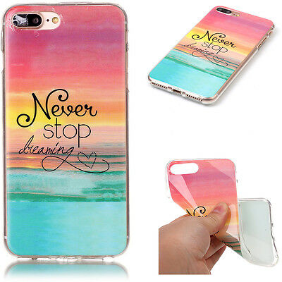 Painted Ultra Slim Soft TPU Rubber Protective Back Case Cover For iPhone 7 Plus