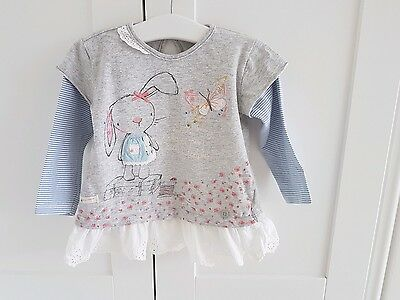 EL.  Immaculate baby girls NEXT grey bunny dress Age 9-12 months