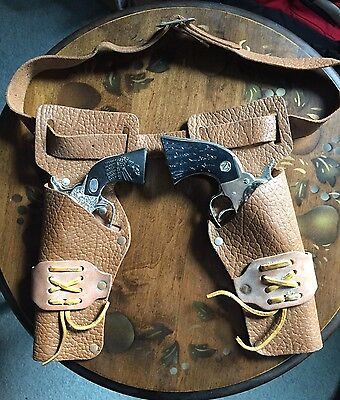 Children's Double Leather Holster W/ 2 Toy mini Guns, Approx 1960's