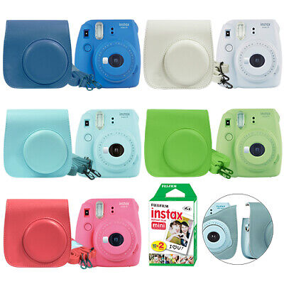 Fuji Instax Mini 9 Fujifilm Instant Film Camera All Colors+ Case & 20 Film Sheet