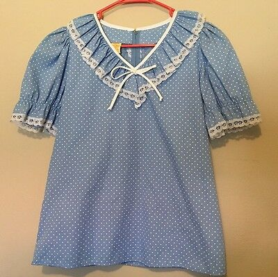 Partners Please! Blue Square Dance Ruffle Eyelet Lace Blouse Rockabilly S