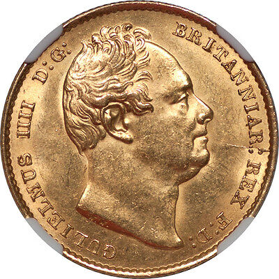 Great Britain 1837 William IV Gold Sovereign NGC MS-63