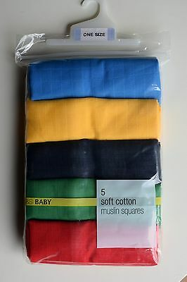 M & S BABY- 5 Soft Cotton Muslin Squares - Lovely Bright Colours - New in Pack