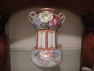 Large Antique Japanese Hand Painted Nippon Corset Vase