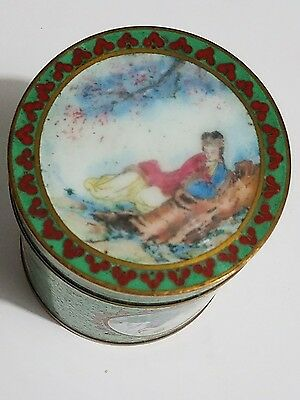 Beautiful Antq  Chinese Cloisonne Enamel Hand Painted Lady,cranes,flowers