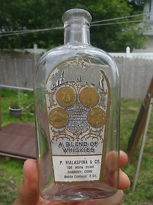 P. MALASPINA DANBURY CONN CT vintage bottle flask LABELED HARPER'S