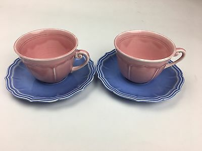 Vintage W.S. George 2 Pink Cups & 2 Purple Saucers