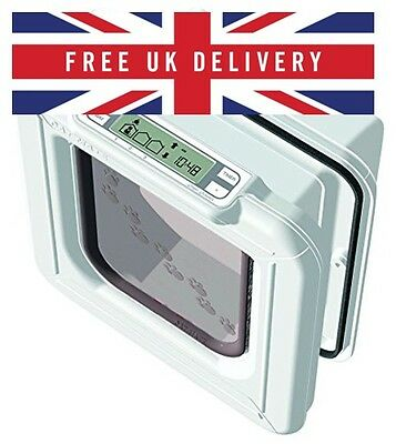 Cat Mate Elite Microchip Cat Flap with Timer Control - White Top Quality