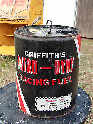 Vintage Griffith's Nitro Dyne Racing Fuel Emtpy 5 Gallon Black Red Can Gas Oil