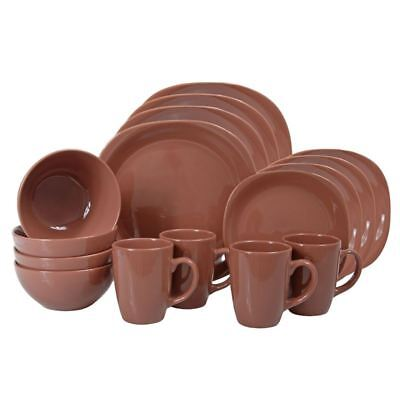 Casuals - Square 16pc Stoneware Dinner Set Copper