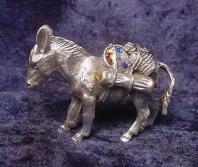 Pewter Pack Mule (Donkey) with Colorful Crystals