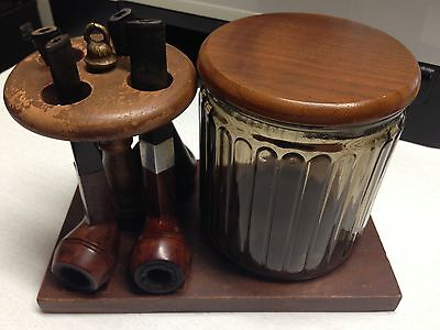 Vintage Lot Of 4 Pipes W/stand And Aztec Humidor