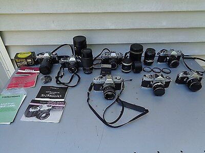 Vintage 35Mm Slr Film Cameras & Lens Lot For Parts Repair Olympus Yashica +