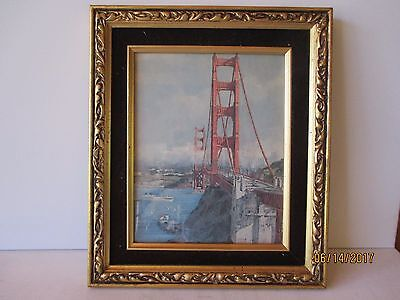 VINTAGE GOLDEN GATE BRIDGE PHOTO IN HEAVY GOLD TONE FRAME (See pics) - FREE SHPG