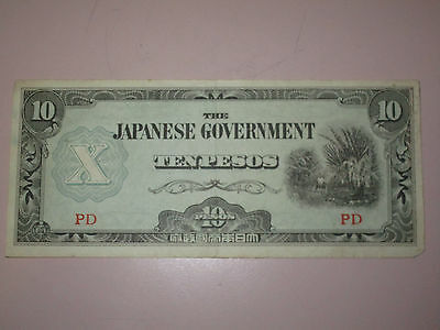 Wwii 10 Pesos Bank Note Philippines From Japanese Government Occupation #pd