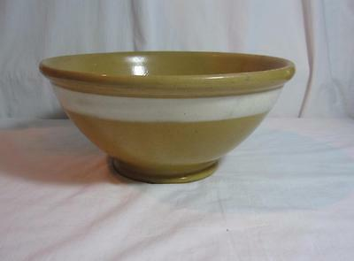 "Antique 11"" Yellow Ware Pottery Bowl Wide White Stripe Band"