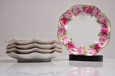 """Antique 5 Rose Hand Painted Porcelain Dishes / Plates - 6"""" - Austria Hallmarked"""