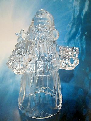 Santa Crystal Candle Stick Holder Holds A Christmas Tree by Imperial Made USA