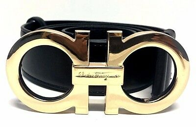 "Salvatore Ferragamo 46 "" Black Leather Gold Adjustable Belt Men Fashion Popular"