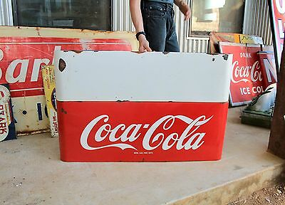 Original 1950's Porcelain Coca Cola Sled Advertising Soda Sign with Marque Nice!