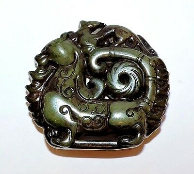 2252~Old Chinese Hand Carved Jade Dragon Amulet**