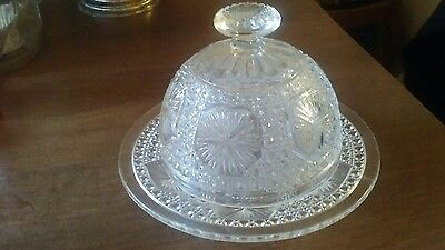 Vintage Pressed Glass Round Butter Dish With Cover