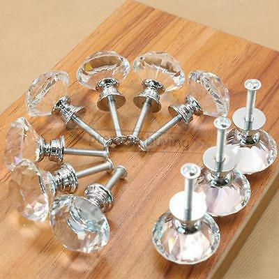 16pc 30mm Clear Crystal Glass Door Knobs Cupboard Drawer Cabinet Kitchen Handles