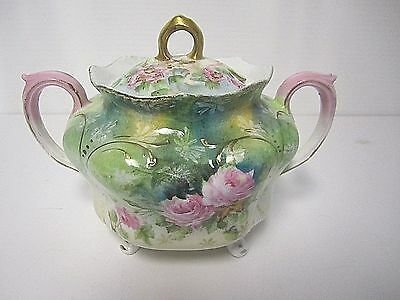 Sugar Bowl Hand painted with Cover Double handled Pink roses Gilded