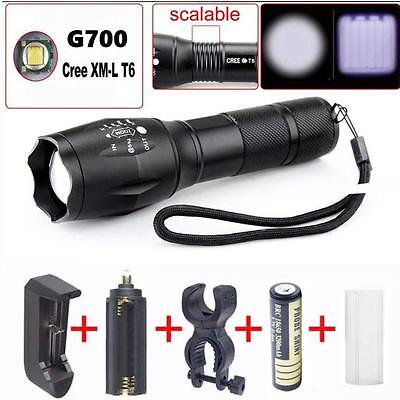 2000LM G700 Cree XM-L T6 LED Tactical Flashlight Torch + Charger +Batery +Adapte